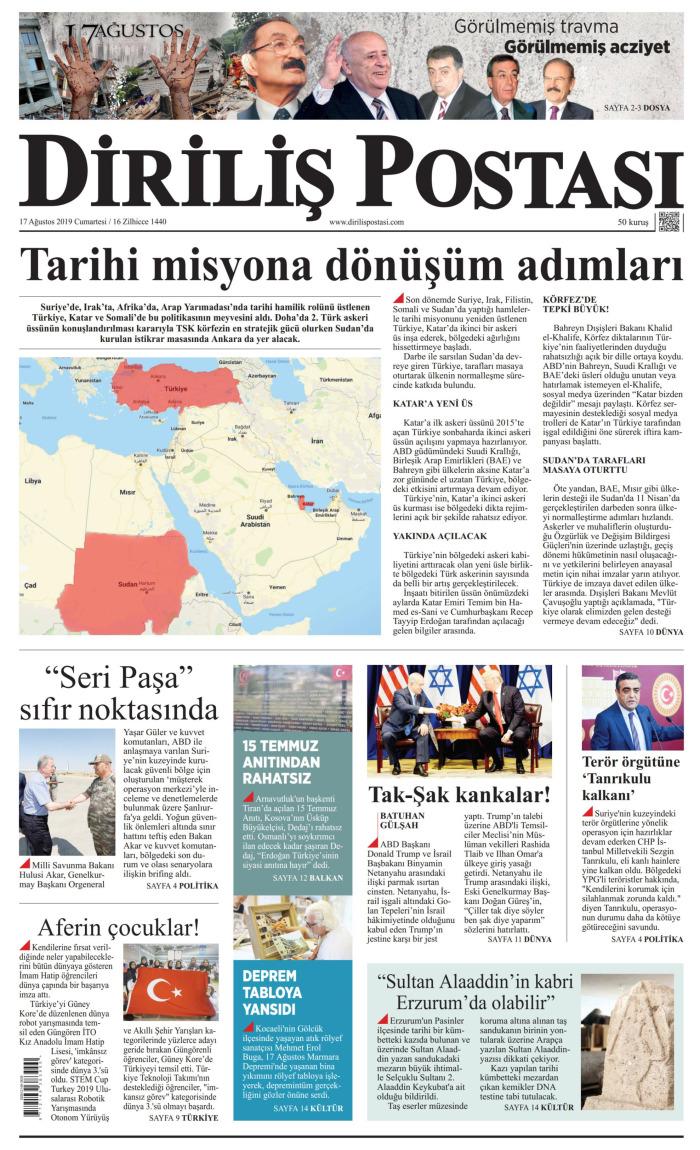 DİRİLİŞ POSTASI Gazetesi 17 Ağustos 2019, Cumartesi Günü Manşeti