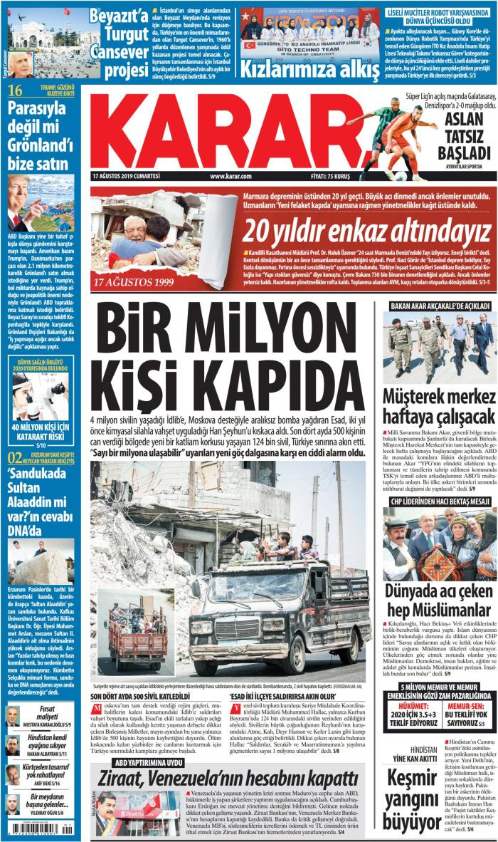 KARAR Gazetesi 17 Ağustos 2019, Cumartesi Günü Manşeti