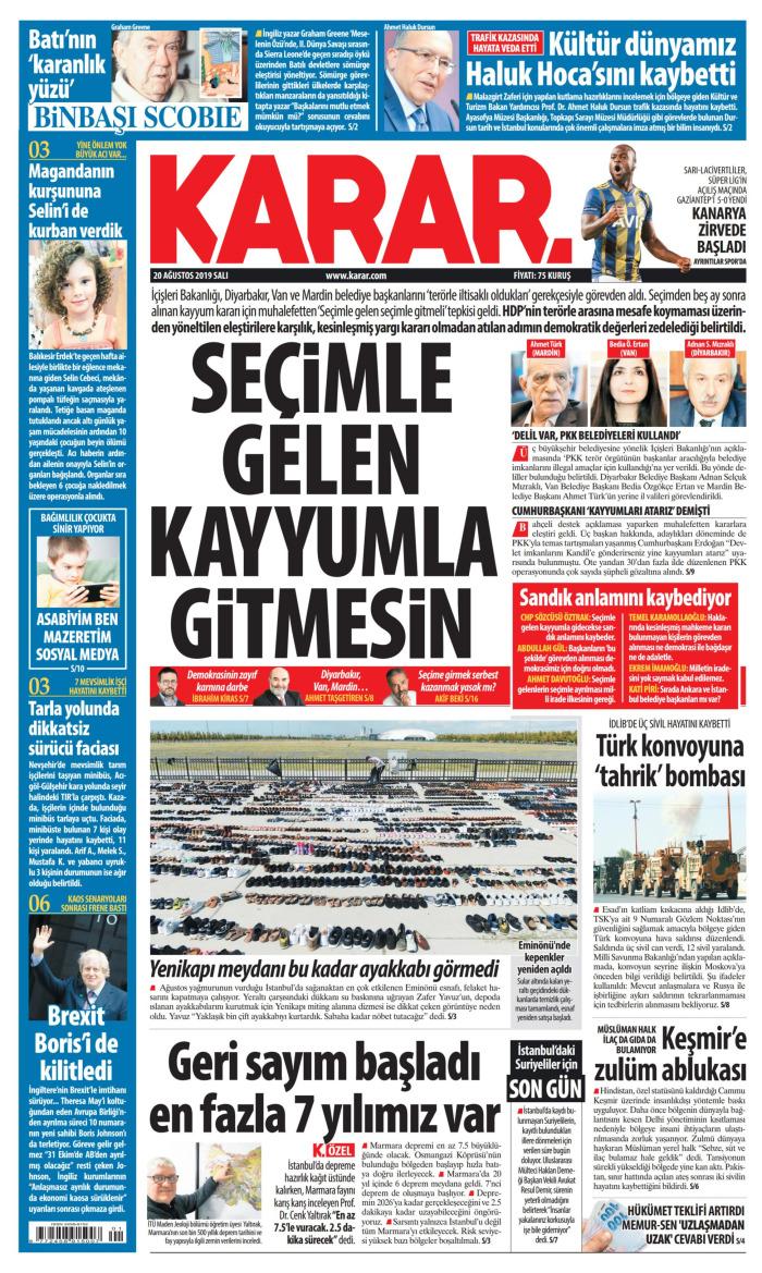 KARAR Gazetesi 20 Ağustos 2019, Salı Günü Manşeti