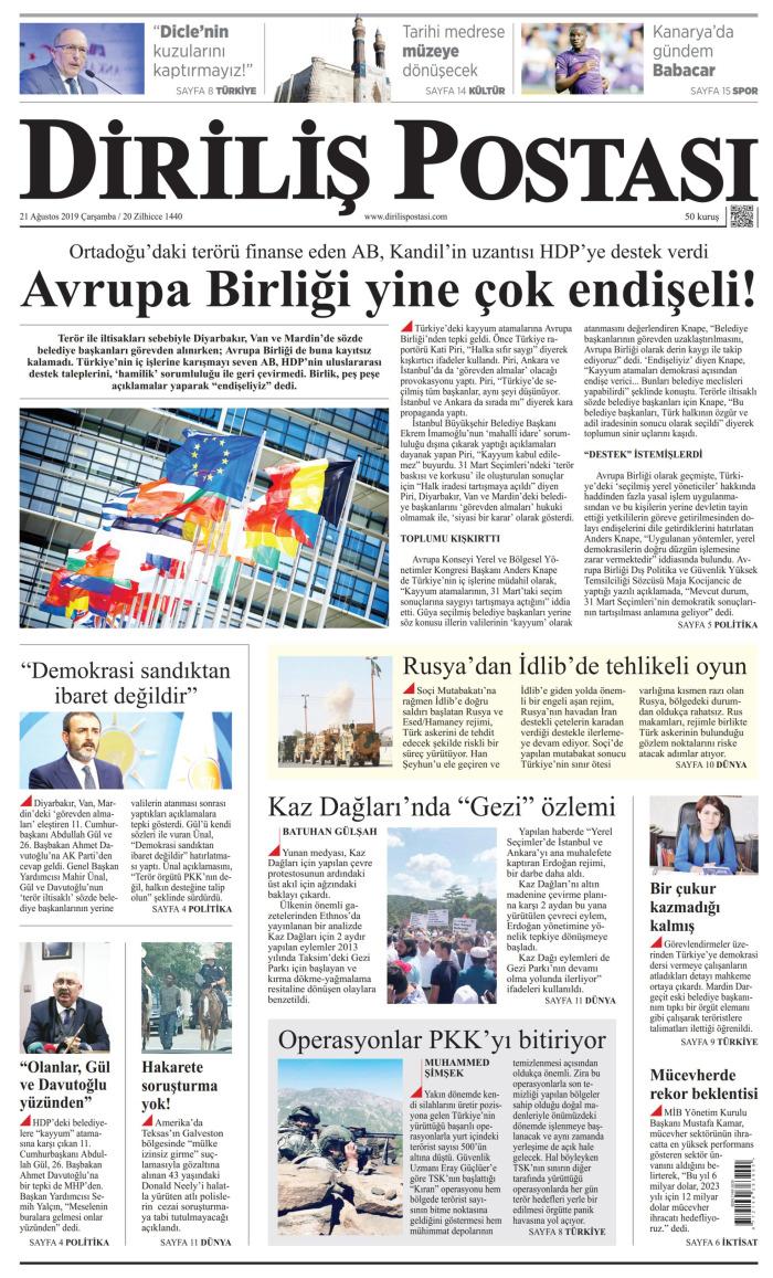 DİRİLİŞ POSTASI Gazetesi 21 Ağustos 2019, Çarşamba Günü Manşeti