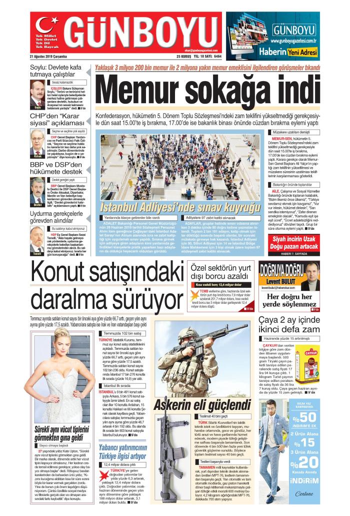 GÜNBOYU Gazetesi 21 Ağustos 2019, Çarşamba Günü Manşeti