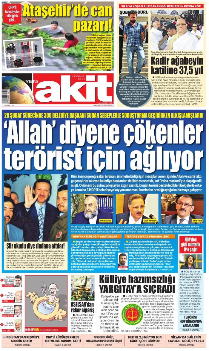 YENİ AKİT Gazetesi 22 Ağustos 2019, Perşembe Günü Manşeti