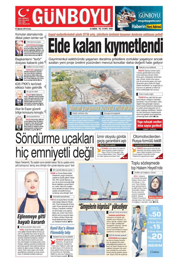 GÜNBOYU Gazetesi 23 Ağustos 2019, Cuma Günü Manşeti