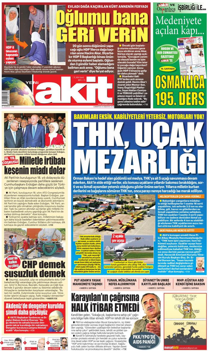 YENİ AKİT Gazetesi 24 Ağustos 2019, Cumartesi Günü Manşeti
