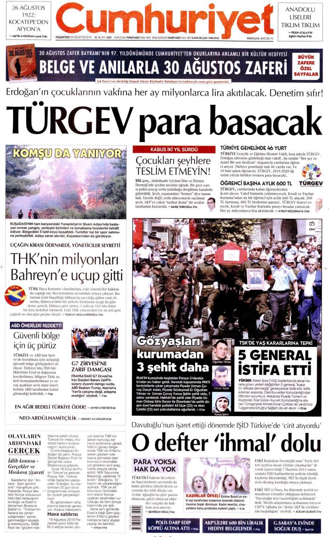 CUMHURİYET Gazetesi 26 Ağustos 2019, Pazartesi Günü Manşeti