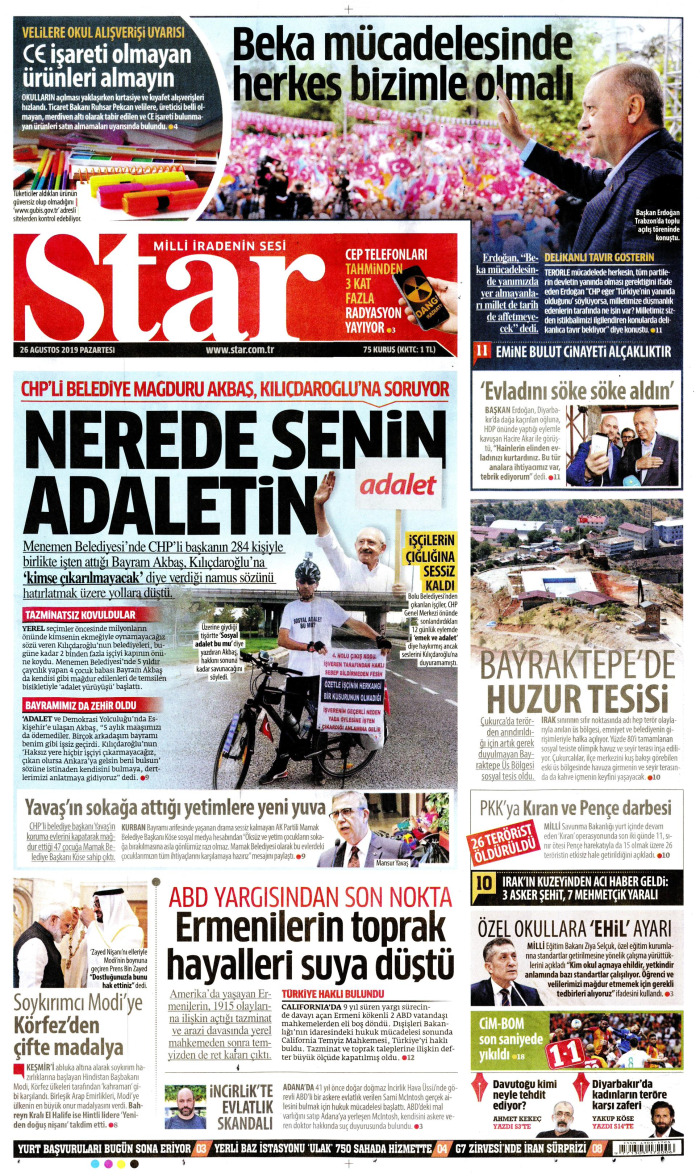 STAR Gazetesi 26 Ağustos 2019, Pazartesi Günü Manşeti