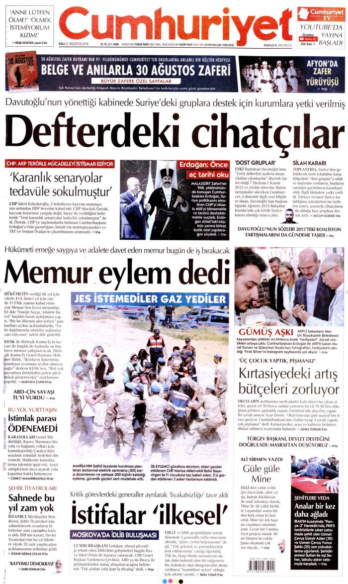 CUMHURİYET Gazetesi 27 Ağustos 2019, Salı Günü Manşeti
