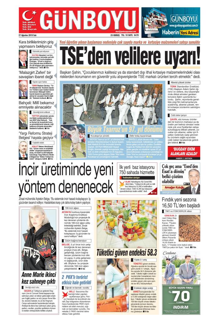 GÜNBOYU Gazetesi 27 Ağustos 2019, Salı Günü Manşeti