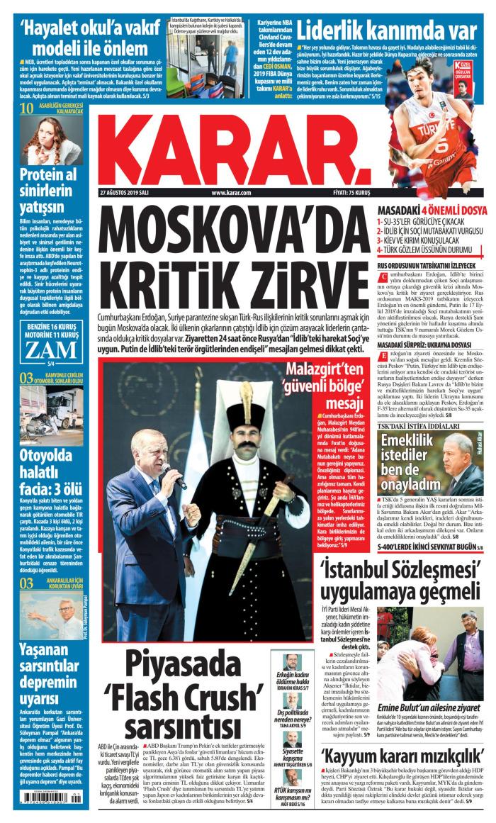 KARAR Gazetesi 27 Ağustos 2019, Salı Günü Manşeti