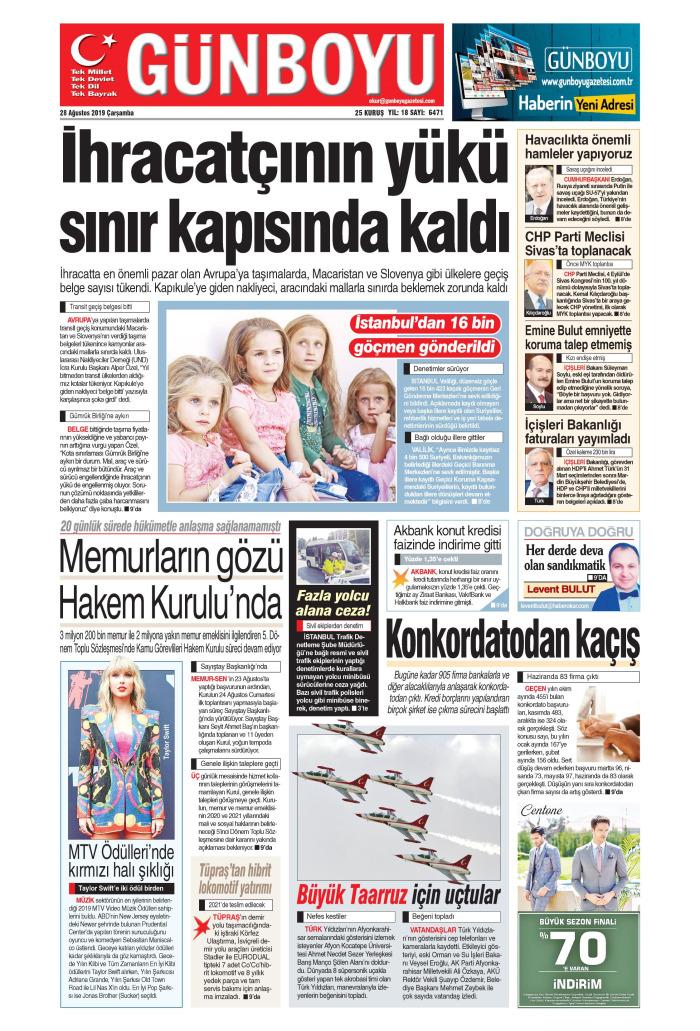 GÜNBOYU Gazetesi 28 Ağustos 2019, Çarşamba Günü Manşeti