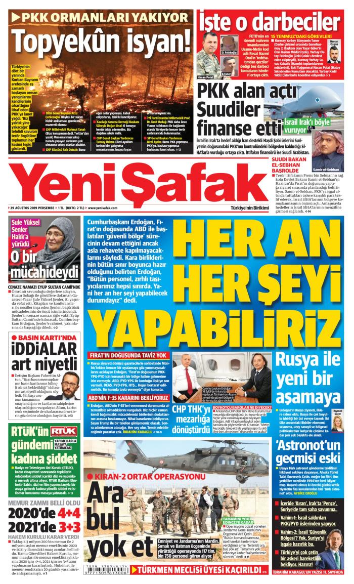 YENİ ŞAFAK Gazetesi 29 Ağustos 2019, Perşembe Günü Manşeti