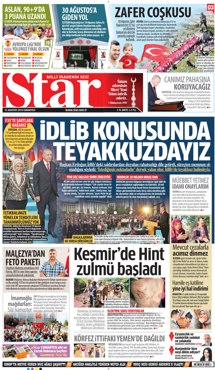 STAR Gazetesi 31 Ağustos 2019, Cumartesi Günü Manşeti