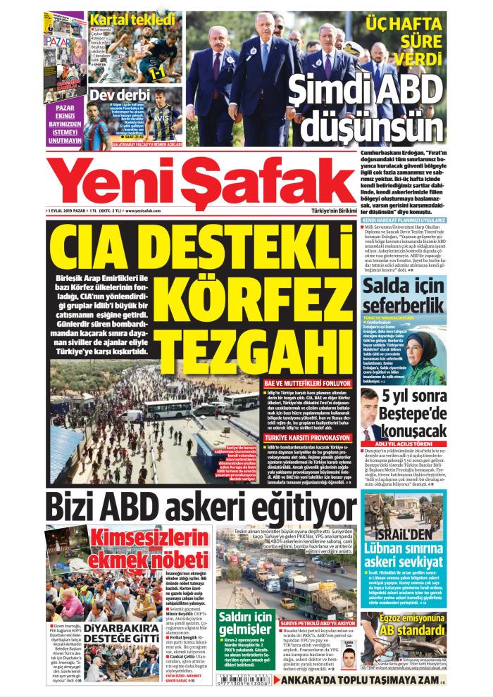 YENİ ŞAFAK Gazetesi 1 Eylül 2019, Pazar Günü Manşeti