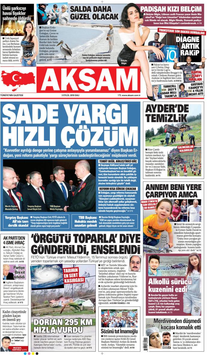AKŞAM Gazetesi 3 Eylül 2019, Salı Günü Manşeti