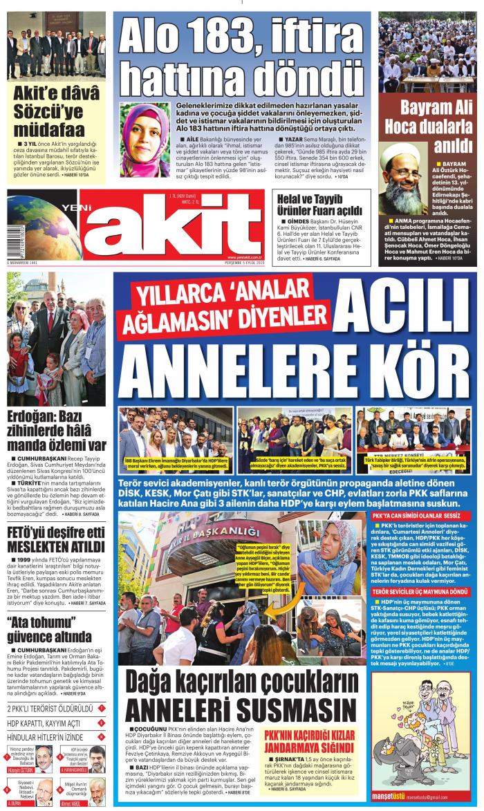 YENİ AKİT Gazetesi 5 Eylül 2019, Perşembe Günü Manşeti