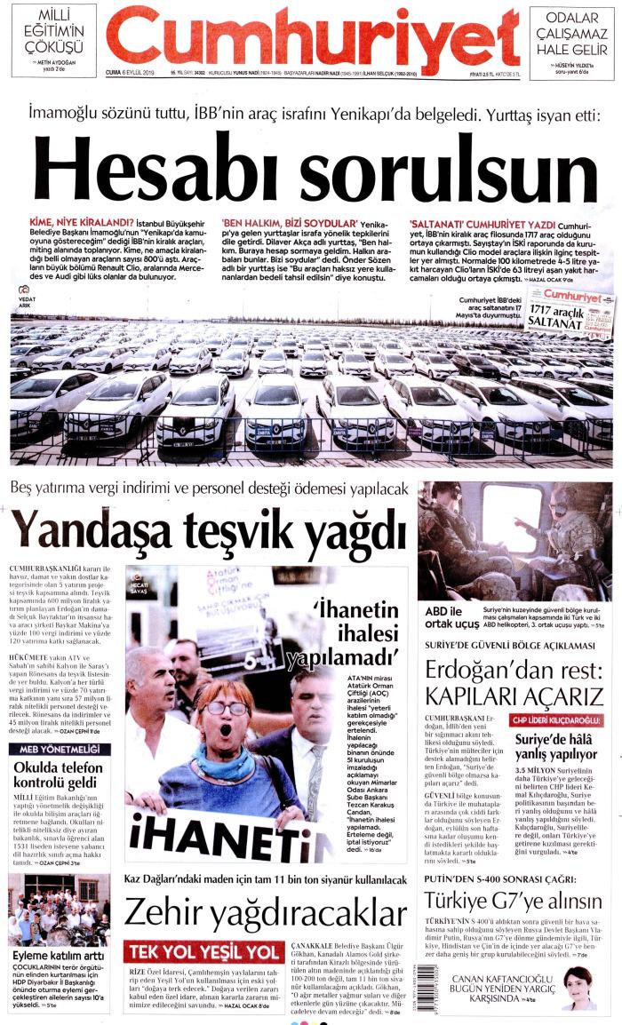CUMHURİYET Gazetesi 6 Eylül 2019, Cuma Günü Manşeti