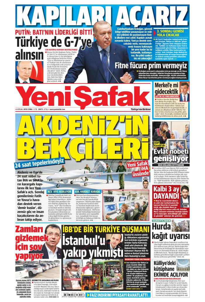 YENİ ŞAFAK Gazetesi 6 Eylül 2019, Cuma Günü Manşeti