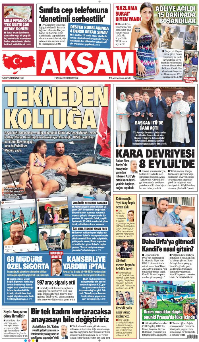 AKŞAM Gazetesi 7 Eylül 2019, Cumartesi Günü Manşeti