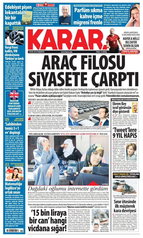 KARAR Gazetesi 7 Eylül 2019, Cumartesi Günü Manşeti