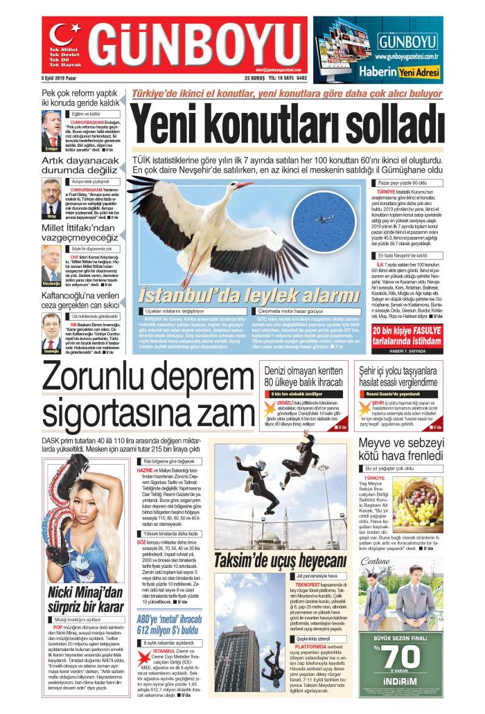 GÜNBOYU Gazetesi 8 Eylül 2019, Pazar Günü Manşeti