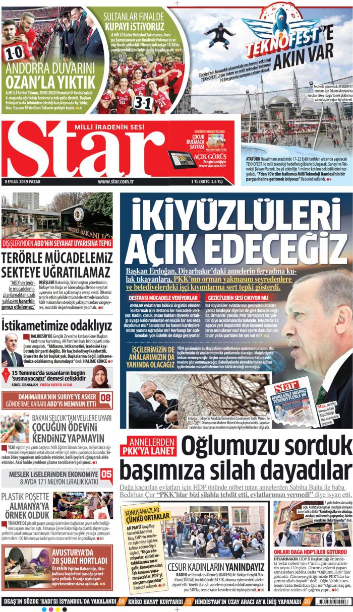 STAR Gazetesi 8 Eylül 2019, Pazar Günü Manşeti