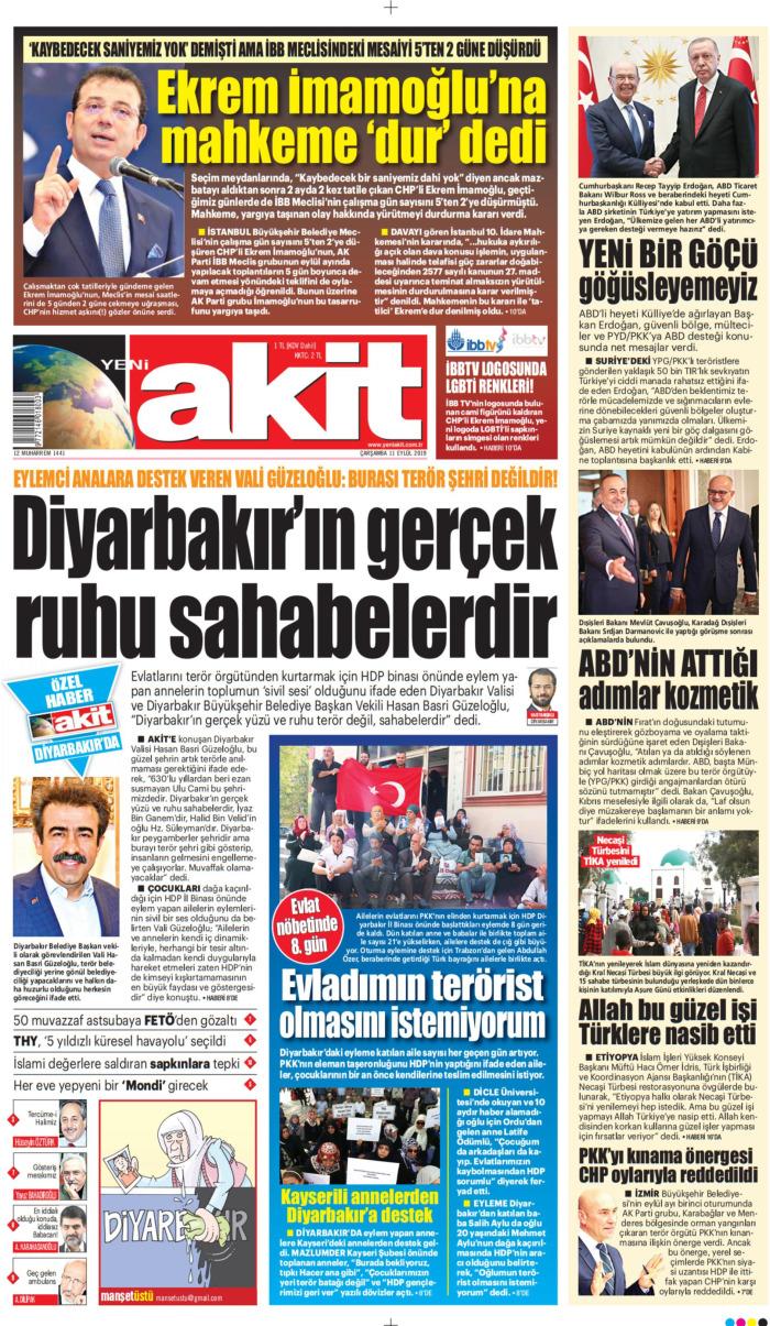 YENİ AKİT Gazetesi 11 Eylül 2019, Çarşamba Günü Manşeti