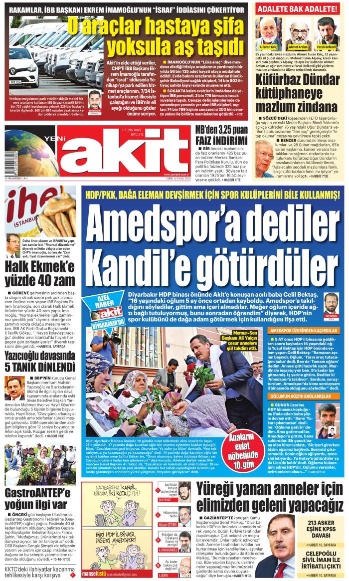YENİ AKİT Gazetesi 13 Eylül 2019, Cuma Günü Manşeti