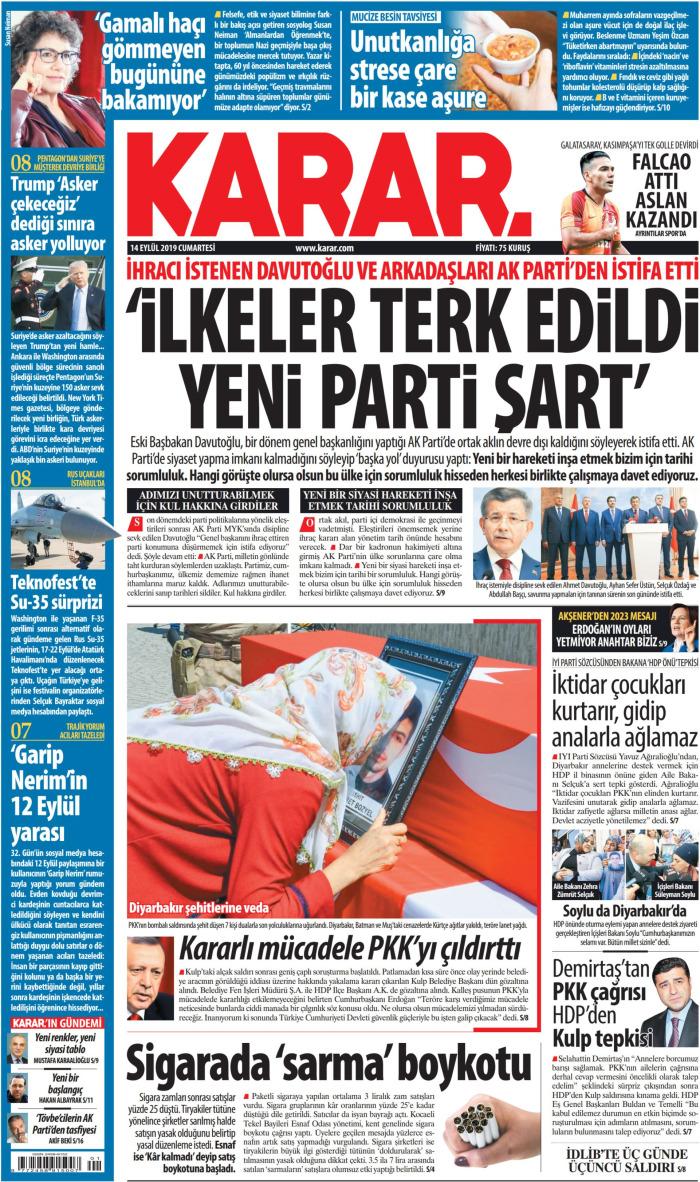 KARAR Gazetesi 14 Eylül 2019, Cumartesi Günü Manşeti