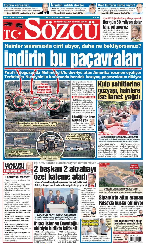 SÖZCÜ Gazetesi 14 Eylül 2019, Cumartesi Günü Manşeti