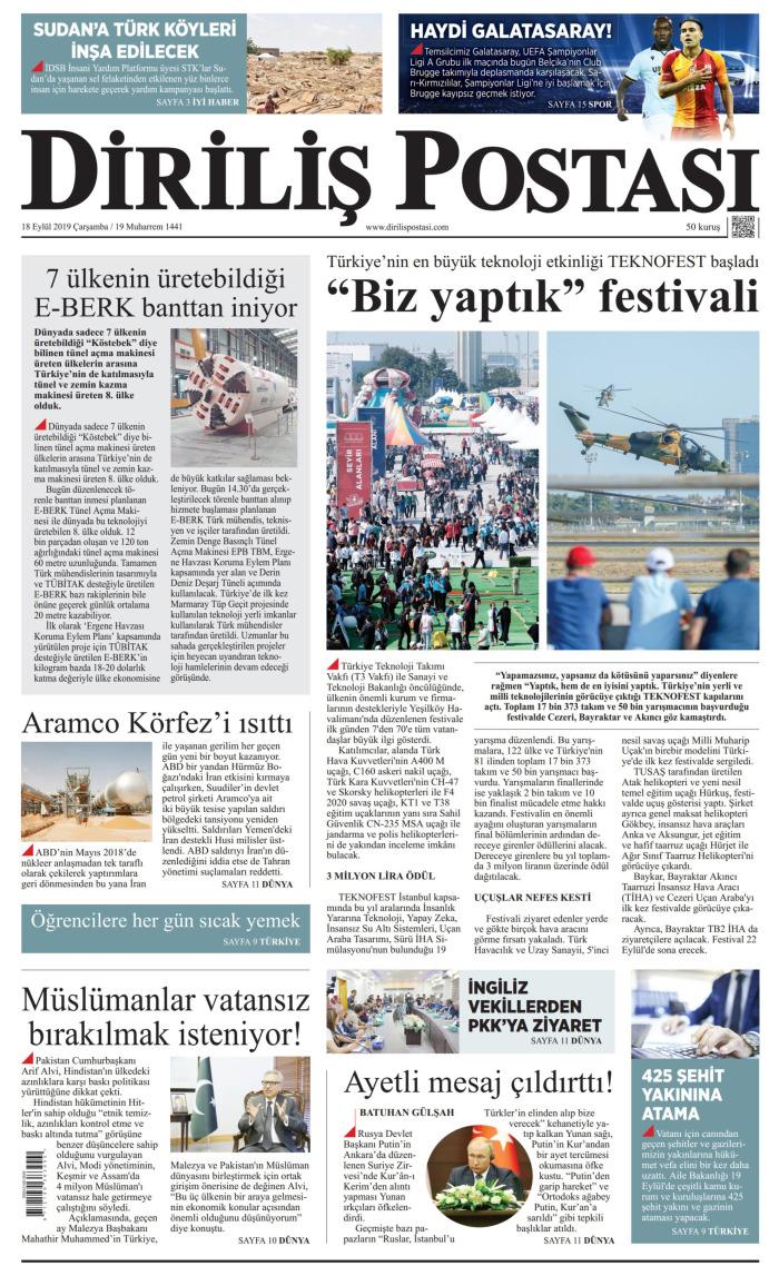 DİRİLİŞ POSTASI Gazetesi 18 Eylül 2019, Çarşamba Günü Manşeti