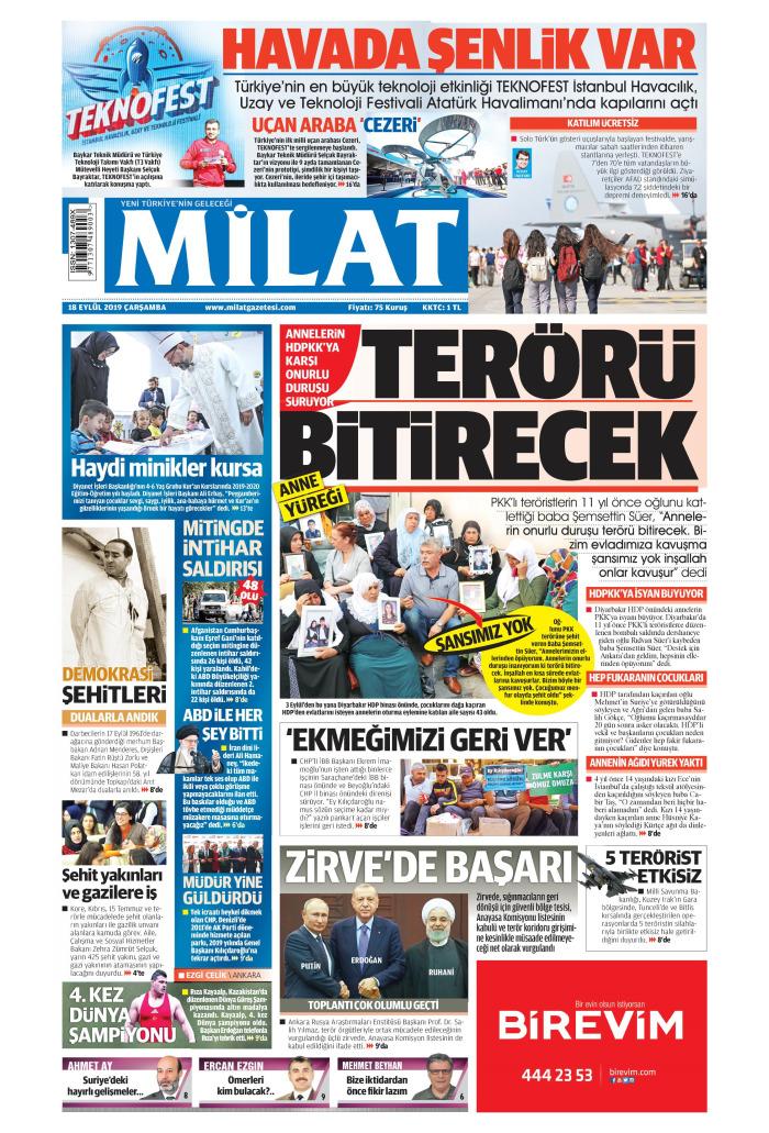 MİLAT Gazetesi 18 Eylül 2019, Çarşamba Günü Manşeti