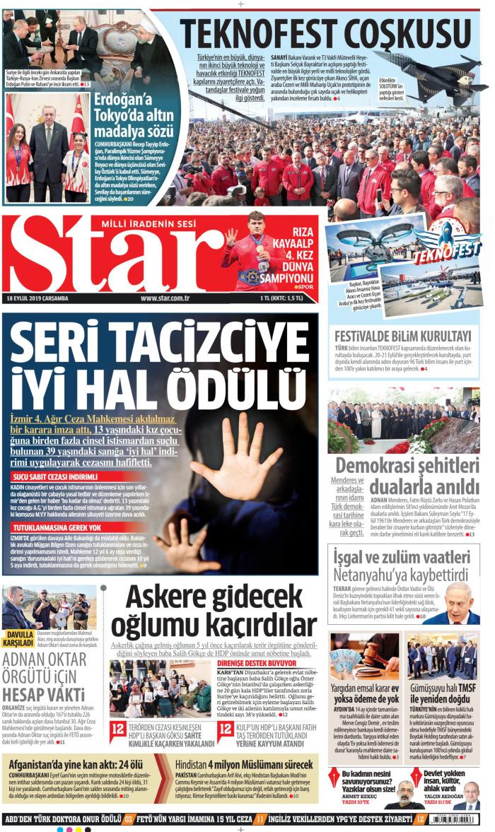 STAR Gazetesi 18 Eylül 2019, Çarşamba Günü Manşeti