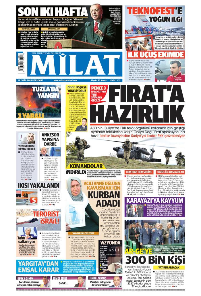 MİLAT Gazetesi 19 Eylül 2019, Perşembe Günü Manşeti
