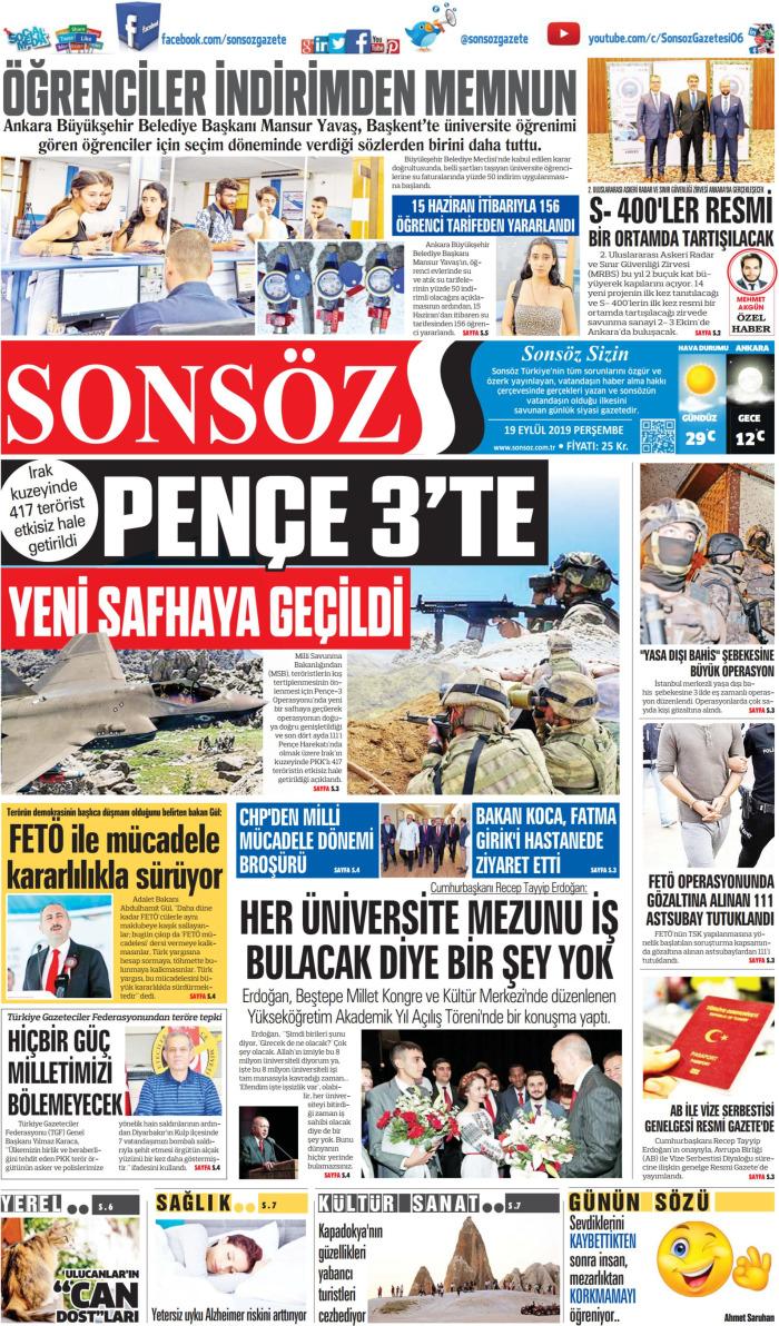 SONSÖZ Gazetesi 19 Eylül 2019, Perşembe Günü Manşeti