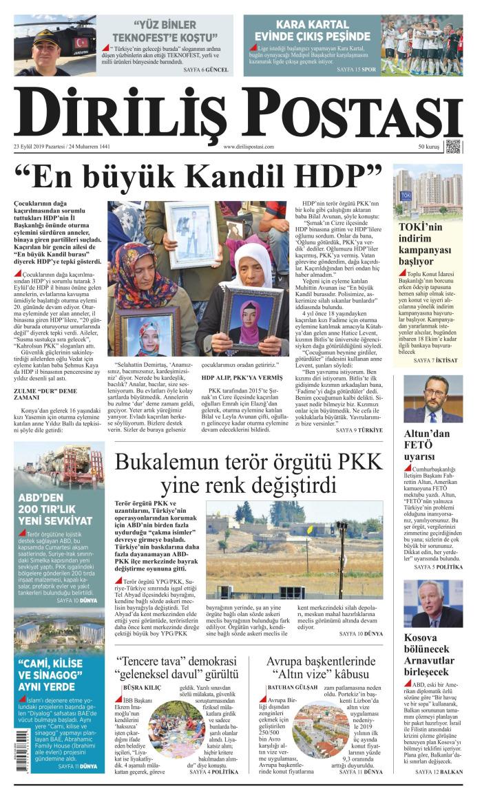 DİRİLİŞ POSTASI Gazetesi 23 Eylül 2019, Pazartesi Günü Manşeti