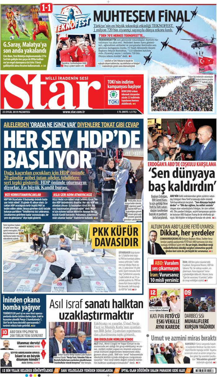 STAR Gazetesi 23 Eylül 2019, Pazartesi Günü Manşeti