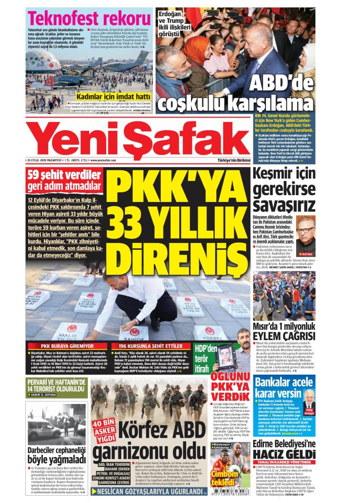 YENİ ŞAFAK Gazetesi 23 Eylül 2019, Pazartesi Günü Manşeti