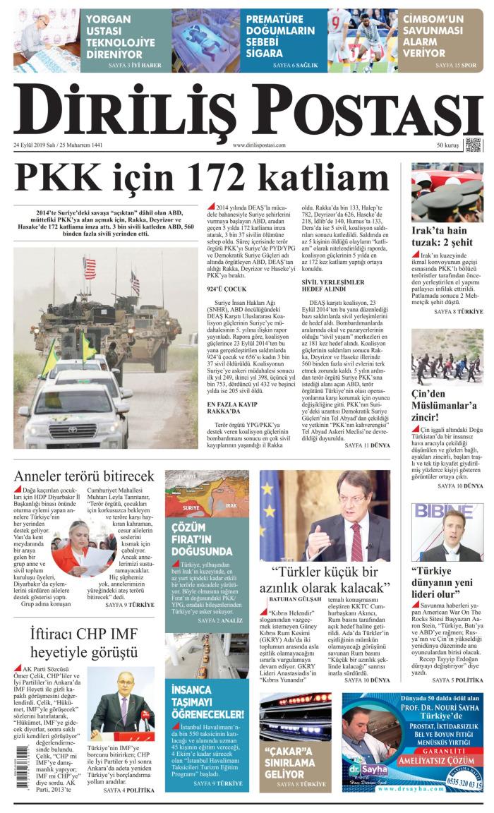 DİRİLİŞ POSTASI Gazetesi 24 Eylül 2019, Salı Günü Manşeti