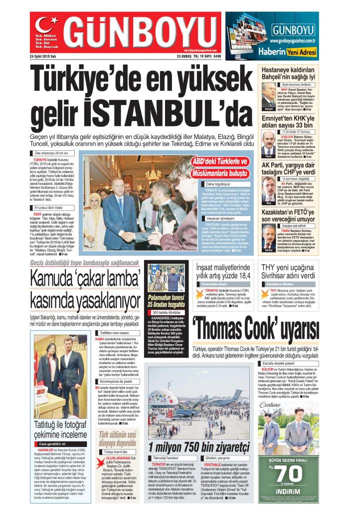 GÜNBOYU Gazetesi 24 Eylül 2019, Salı Günü Manşeti