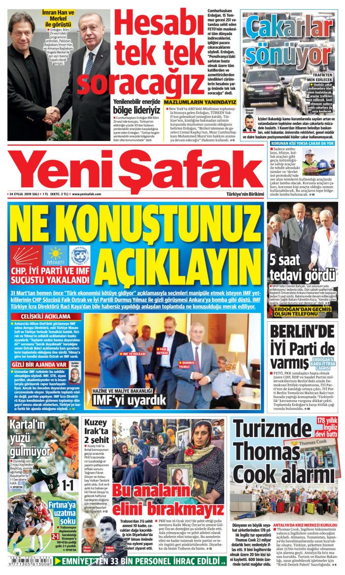 YENİ ŞAFAK Gazetesi 24 Eylül 2019, Salı Günü Manşeti