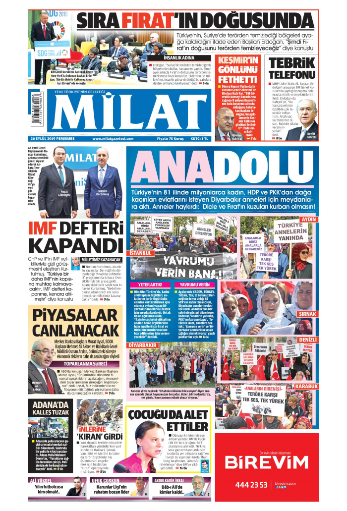 MİLAT Gazetesi 26 Eylül 2019, Perşembe Günü Manşeti