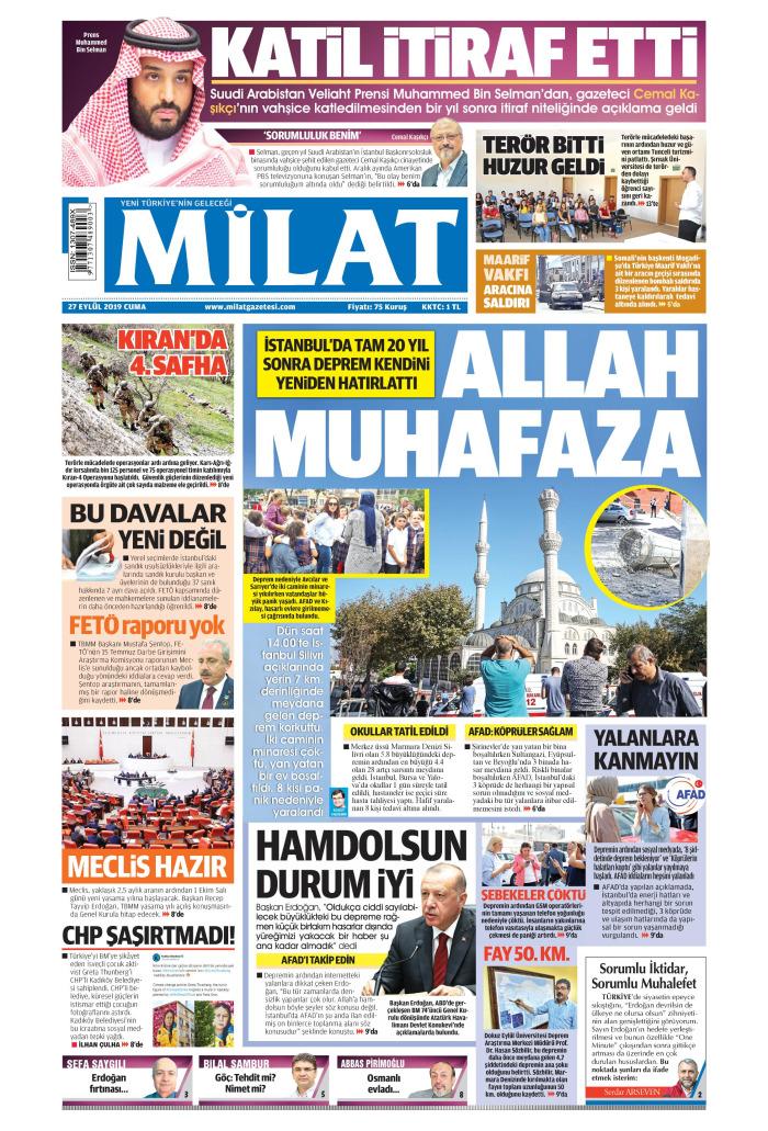MİLAT Gazetesi 27 Eylül 2019, Cuma Günü Manşeti