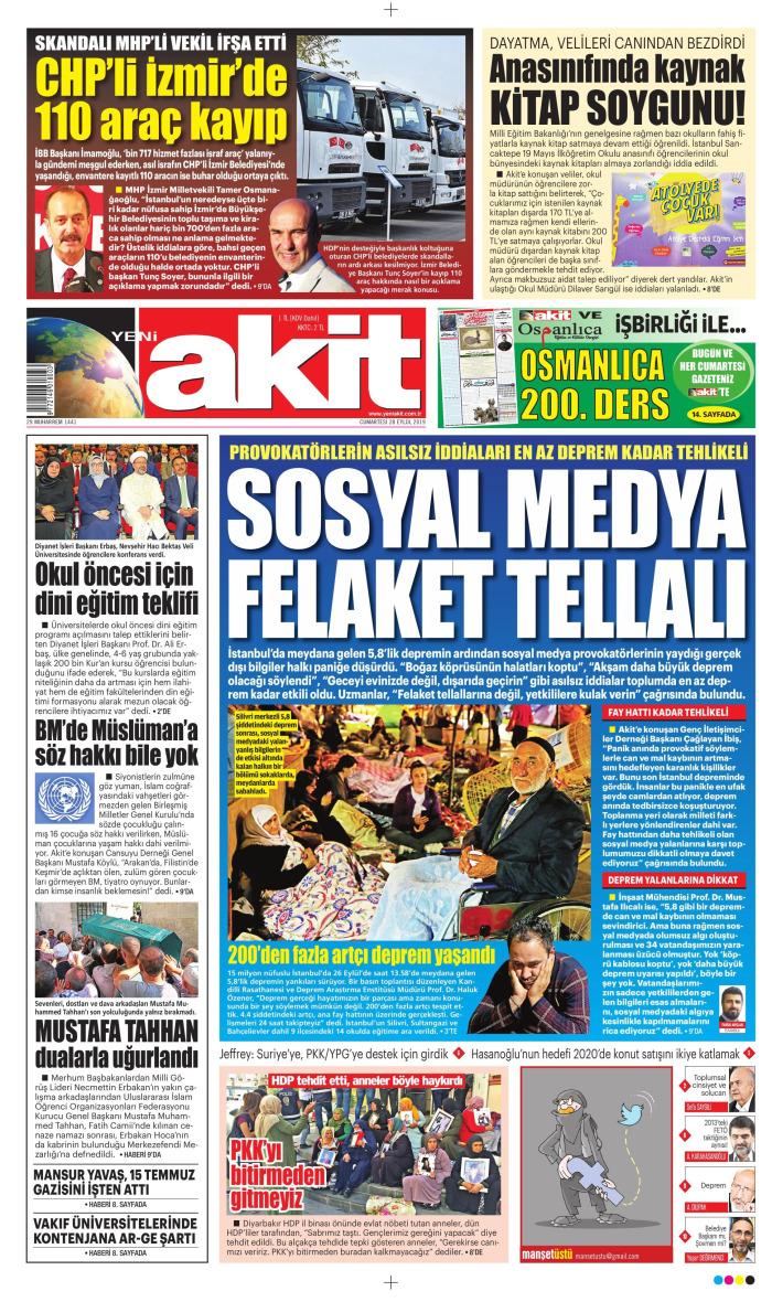YENİ AKİT Gazetesi 28 Eylül 2019, Cumartesi Günü Manşeti