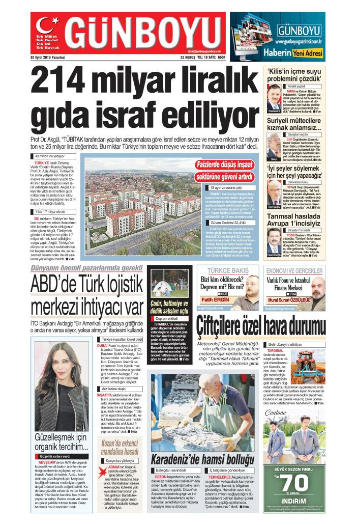 GÜNBOYU Gazetesi 30 Eylül 2019, Pazartesi Günü Manşeti