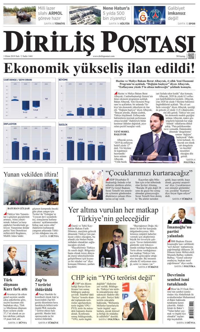 DİRİLİŞ POSTASI Gazetesi 1 Ekim 2019, Salı Günü Manşeti