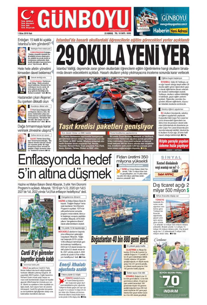 GÜNBOYU Gazetesi 1 Ekim 2019, Salı Günü Manşeti