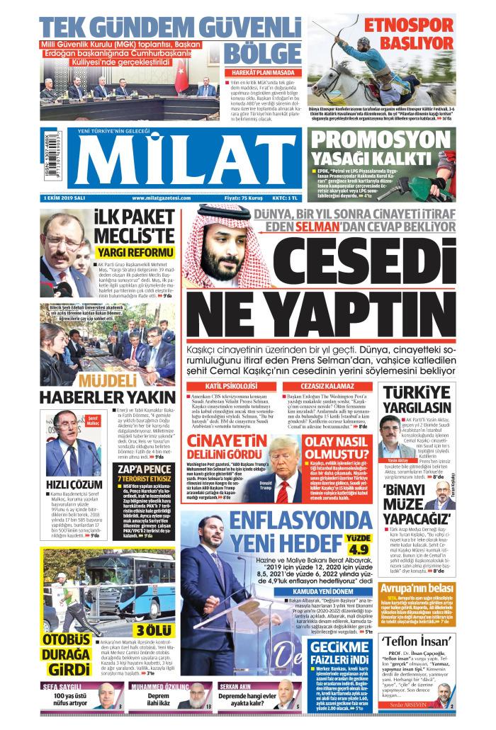 MİLAT Gazetesi 1 Ekim 2019, Salı Günü Manşeti
