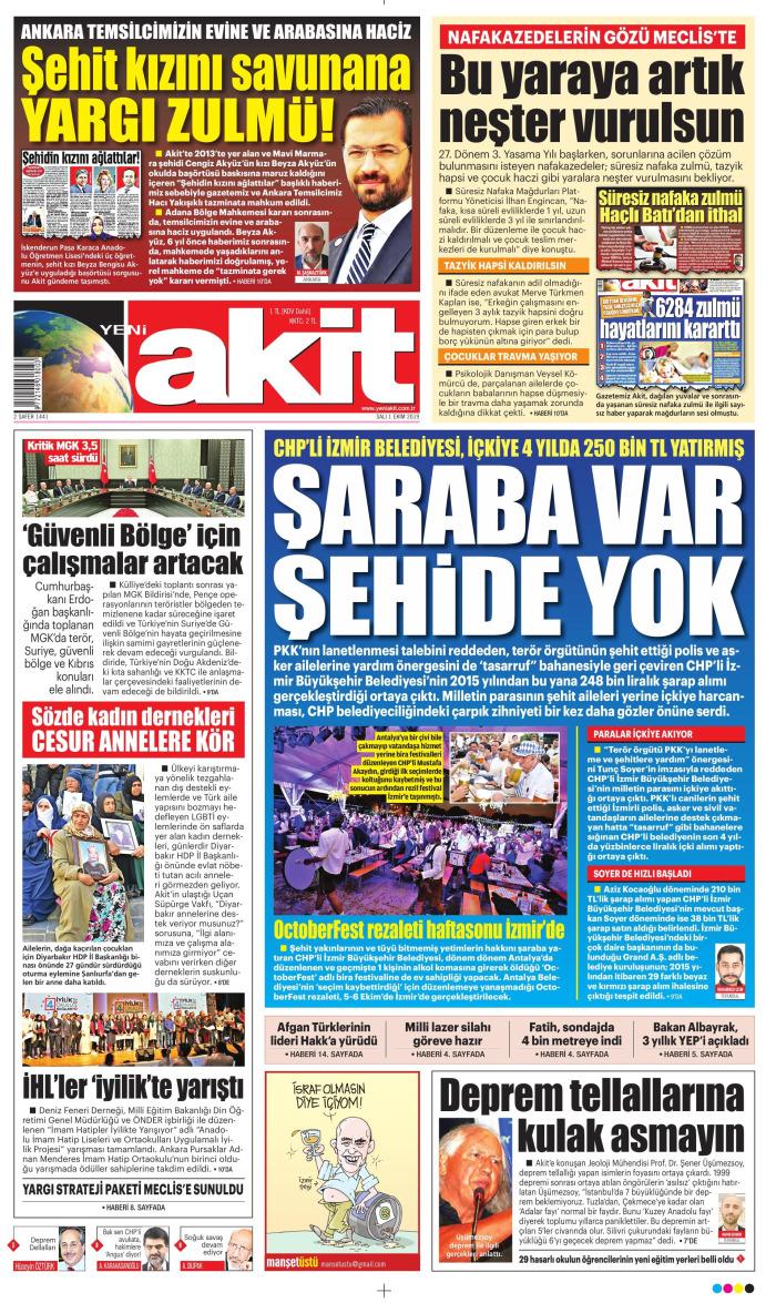 YENİ AKİT Gazetesi 1 Ekim 2019, Salı Günü Manşeti