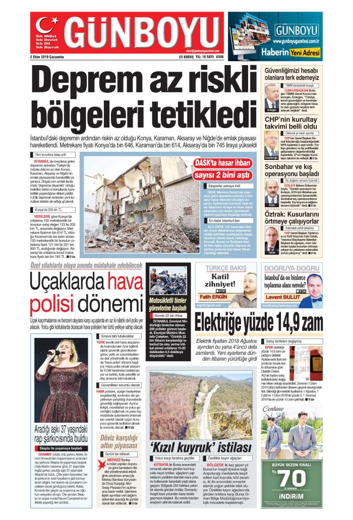GÜNBOYU Gazetesi 2 Ekim 2019, Çarşamba Günü Manşeti