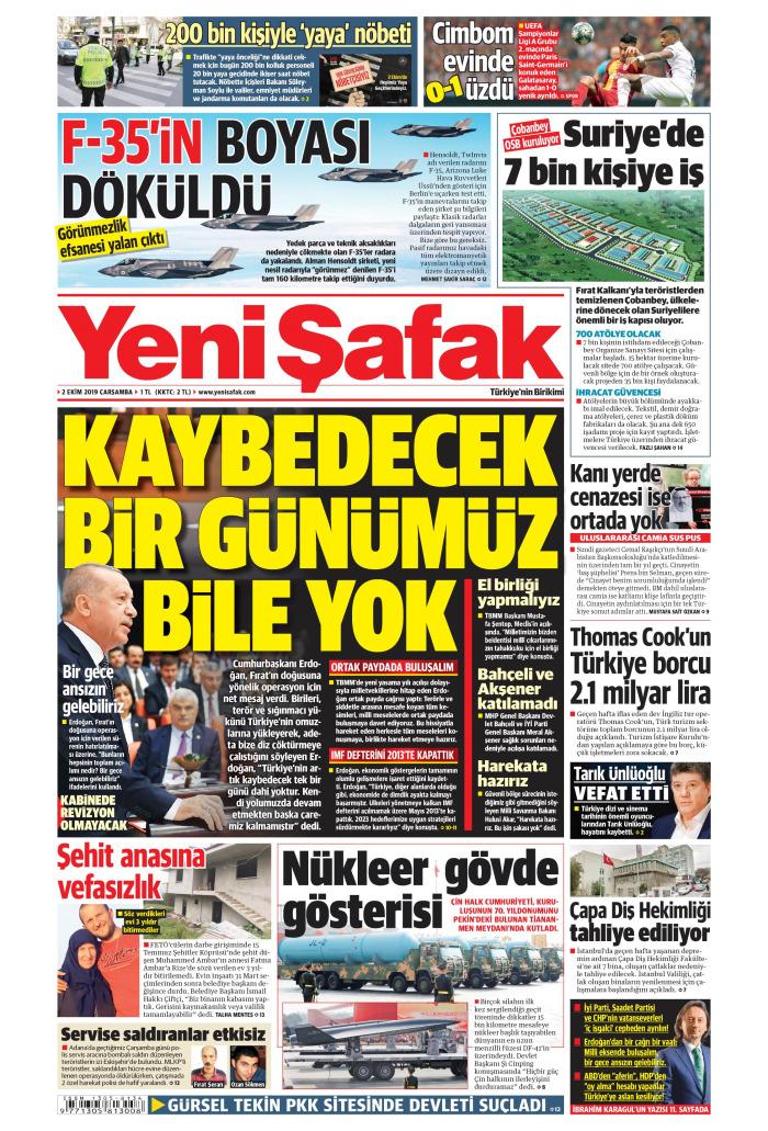 YENİ ŞAFAK Gazetesi 2 Ekim 2019, Çarşamba Günü Manşeti